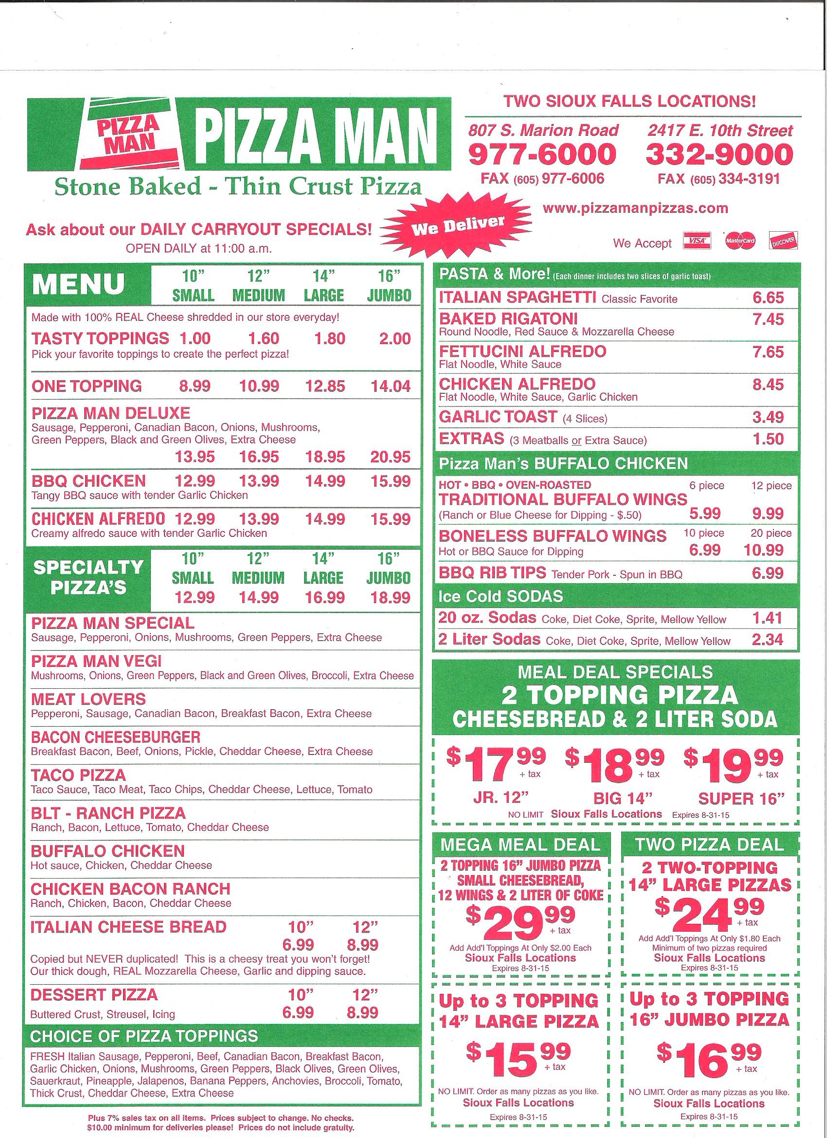 pizzaman menu